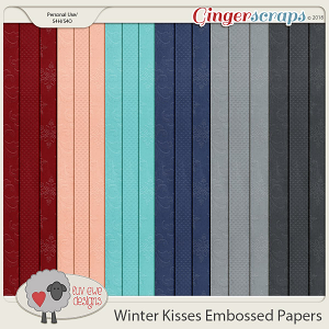 Winter Kisses Embossed Papers by Luv Ewe Designs
