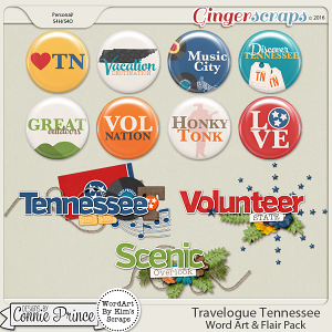 Travelogue Tennessee - Word Art & Flair Pack