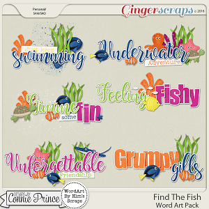 Find The Fish - Word Art
