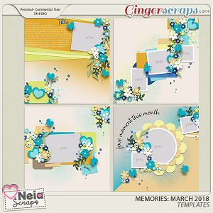Memories: March 2018 - Templates - by Neia Scraps