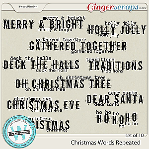 Christmas Words Repeated by Kathy Winters Designs