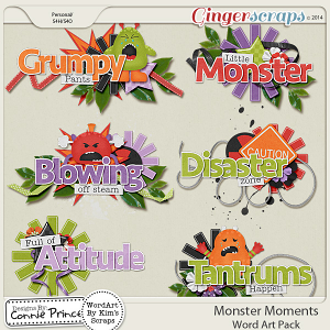 Monster Moments - Word Art