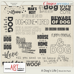 A Dog's Life Word Art