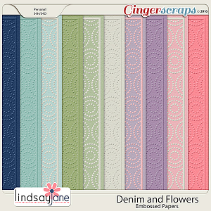 Denim and Flowers Embossed Papers by Lindsay Jane