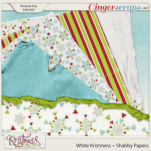 White Kristmess Shabby Papers