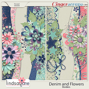 Denim and Flowers Borders by Lindsay Jane