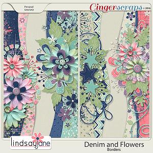 Denim and Flowers Borders by Lindsay Jane