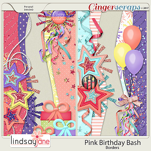 Pink Birthday Bash Borders by Lindsay Jane