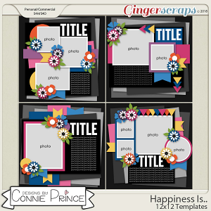 Happiness Is.. - 12x12 Templates (CU Ok) by Connie Prince
