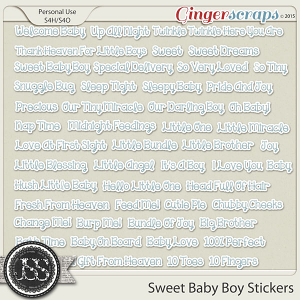 Sweet Baby Boy Word Stickers