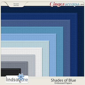 Shades of Blue Embossed Papers by Lindsay Jane