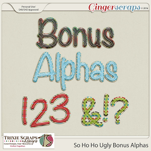 So Ho Ho Ugly Bonus Alphas by Trixie Scraps Designs