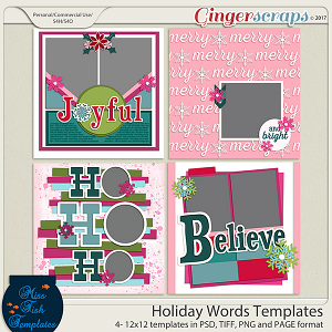 Holiday Words Templates by Miss Fish Templates
