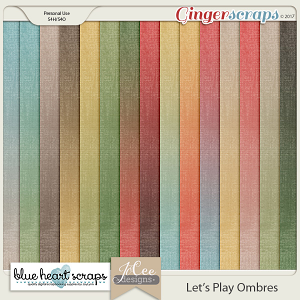 Let's Play Ombre Papers by Blue Heart Scraps and JoCee Designs