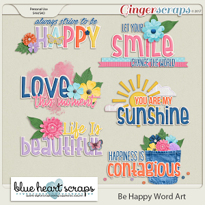 Be Happy Word Art Pack