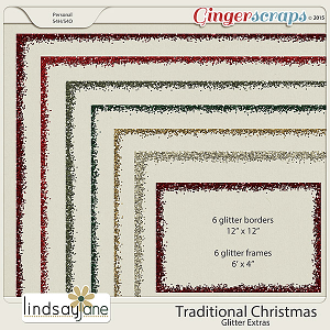 Traditional Christmas Glitter Extras by Lindsay Jane