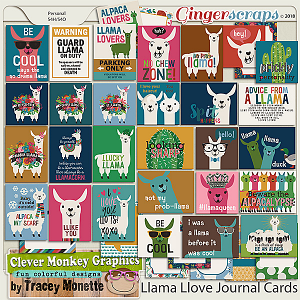 Llama Love Journal Cards by Clever Monkey Graphics