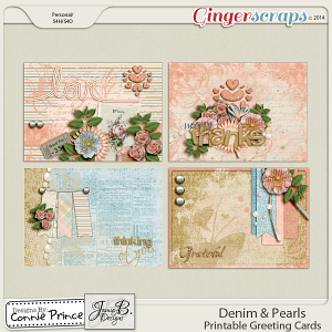 Denim & Pearls - Printable Greeting Cards