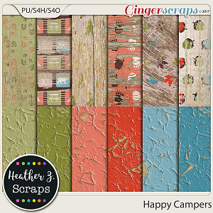 Happy Campers PEELING WOOD by Heather Z Scraps