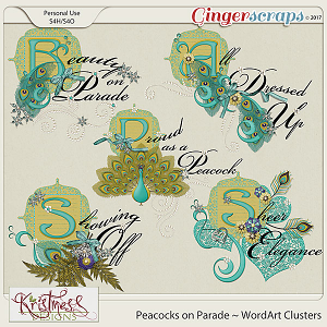 Peacocks on Parade WordArt Clusters