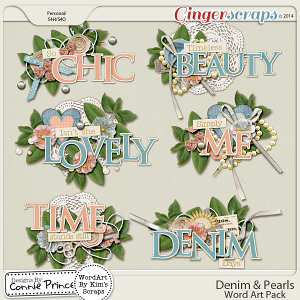 Denim & Pearls - WordArt