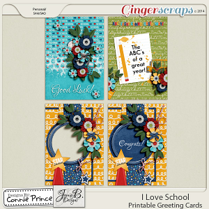 I Love School - Printable Greeting Cards