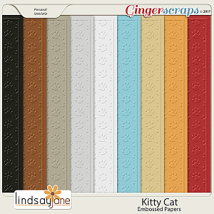 Kitty Cat Embossed Papers by Lindsay Jane