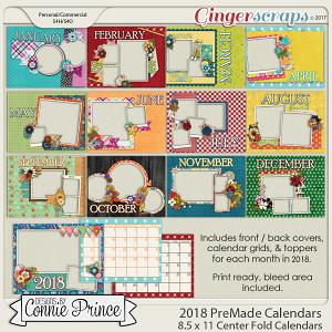 2018 8.5 x 11 PreMade Calendars