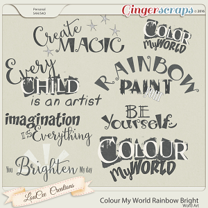 Colour My World Rainbow Bright Word Art