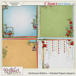 Kristmess Robins Stacked Papers (layers)
