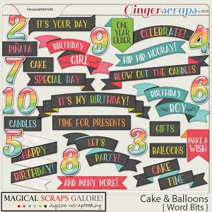 Cake & Balloons (word bits)