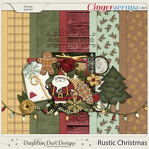 Rustic Christmas Digital Scrapbook Kit By Dandelion Dust Designs
