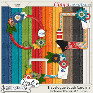 Travelogue South Carolina - Embossed Papers & Cluster Pack
