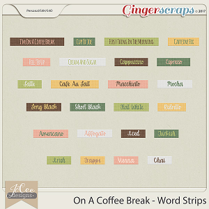 On A Coffee Break Word Strips