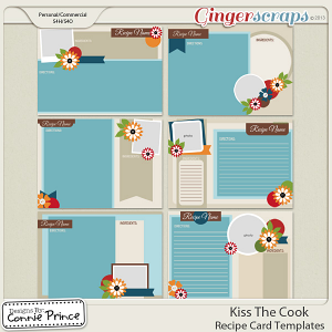 Kiss The Cook - 5x7 Recipe Card Temps (CU Ok)