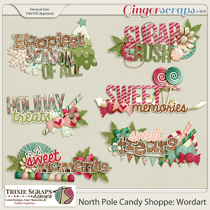 North Pole Candy Shoppe Wordart by Trixie Scraps Designs