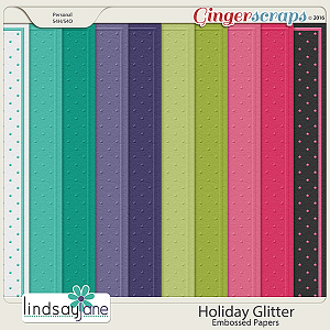 Holiday Glitter Embossed Papers by Lindsay Jane