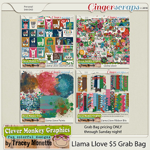Llama Love Grab Bag by Clever Monkey Graphics