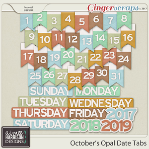 October's Opal Date Tabs by Aimee Harrison