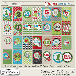 Countdown To Christmas - Advent Countdown Cards