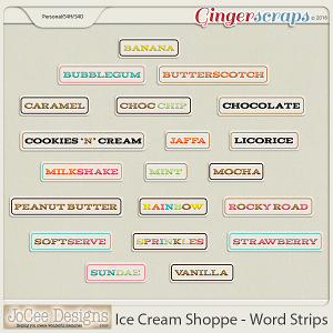 Ice Cream Shoppe Word Art Strips