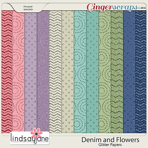 Denim and Flowers Glitter Papers by Lindsay Jane