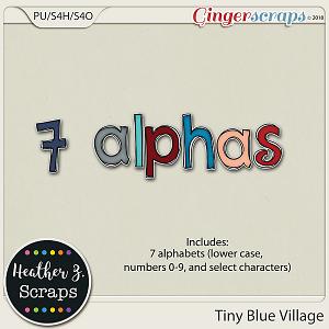 Tiny Blue Village ALPHABETS by Heather Z Scraps