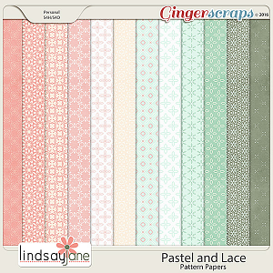 Pastel and Lace Pattern Papers by Lindsay Jane