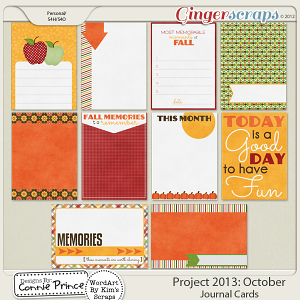 Project 2013:  October - Journal Cards