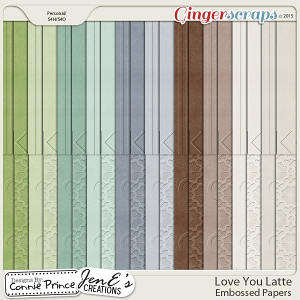 Love You Latte - Embossed Papers