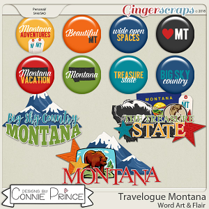 Travelogue Montana - Word Art & Flair Pack by Connie Prince