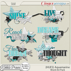 {HUES} Aquamarine - Word Art