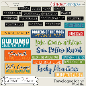 Travelogue Idaho - Word Bits by Connie Prince