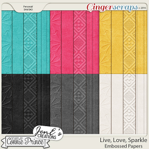 Live, Love, Sparkle - Embossed Papers